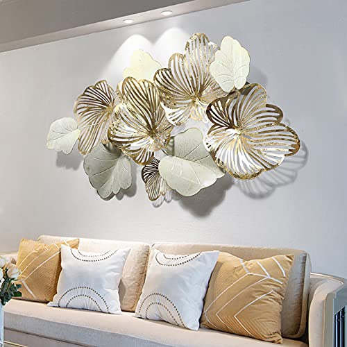 Home Decor Metal Wall Art Leaves, Modern Large Wall Sculptures 'Gold Flower Blooming' Handmade 3D...