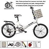 Oanzryybz Haute qualité 20 Pouces vélo Pliant vélo Pliant étudiants Hommes et Femmes Pliant Variable Absorption Vitesse vélo Choc vélo (Color : White)