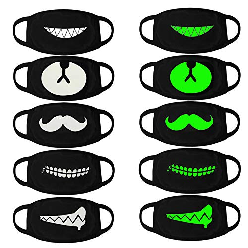 Luminous Mouth Mask,Aniwon 5 Packs Antidust Face Mask Party Cosplay Mask Cotton Masks Glow in The Dark Mouth Mask Halloween Party Mask