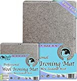 """Wool Ironing Mat Set 17"""" X 24"""" +Blocking Size 12"""" X 12"""" Quilt Pro 100% New Zealand Wool Professional Ironing Portable Quilting Heat Pressing Pad for Arts and Craft, Sewing, Iron Pad, by Quilt in Color"""
