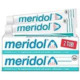 meridol dentifricio protezione gengive con ingrediente antibatterico, combatte le cause dell'irritazione e del sanguinamento occasionale delle gengive, con fluoruro amminico e stannoso, 2x75ml