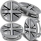 SkinoEu 4 x 75mm Tapas de Rueda de Centro Centrales Llantas Aluminio Tapacubos Compatibles con Mercedes Benz B66470207 / B66470200 Plata Gris Bandera del Reino Unido UK CMS 9
