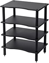 Monolith 4 Tier/Shelf Audio Stand - Black   Open Air Storage, Modular Design, Sturdy, Compatible with Bose, Polk, Sony, Yamaha, Pioneer and Others