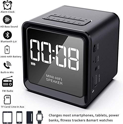 NANYUN digitale wekker, ingebouwde microfoon, 33ft bereik, 4-8 uur/2000 mA batterij, USB Flash Driver & Aux, oplaadstation, elektrische klokken voor slaapkamer, bed, bureau