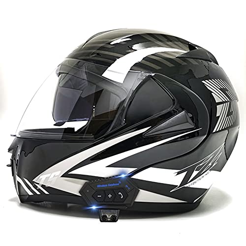 Casco De Motocicleta Bluetooth, Visera Solar Doble, Casco De Motocicleta Modular, Diseño De Forro Extraíble Y Lavable, Casco De Protección Integral con Micrófono De Altavoz Incorporado