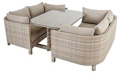 Ocean - Ensemble Lounge 2 Canapes Et Une Table avec Plateau Verre Coussins Inclus