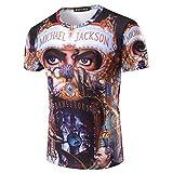 Shuanghao MJ Jackson Dangerous Top Punk Cotton 100% Colorful Tshirt Tees Top Royal Casual T-Shirt (2XL)