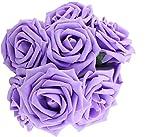 Hosaire 10pcs Bouquet de Mariage Fleurs Artificielles Rose en décoration pour Mariage Maison Fête Soirée et Grandes Banquet -Violet