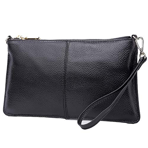 Lecxci Leather Crossbody Purses Clutch Phone Wallets with Card Slots for Women (Black)