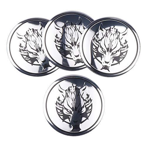 Tapas Para Llantas Coche Styling 4 unids Wolf Head Emblem Car Wheel Center Hub Cap Cap Insignia Etiqueta Pegatina Compatible con Fiat Audi Mazda Toyota Skoda Renault VW Insignia del emblema