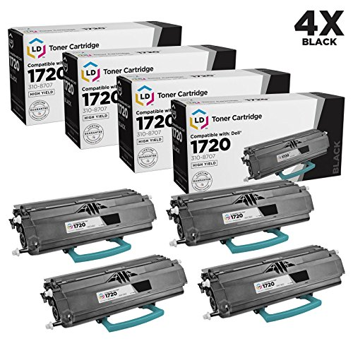 LD Refurbished Dell 310-8707 / GR332 / MW558 Set of 4 Black Toner Cartridges for use in Laser 1720 & 1720dn (6,000 Page Yield)