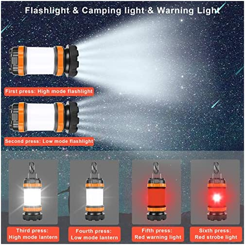POLENTAT Emergency Lights for Home Power Failure, Rechargeable LED Portable Camping Lantern/Flashlight 4000mAh Power… 5