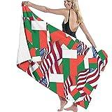 N/A Toallas de baño de 52x32 Pulgadas Bandera de Madagascar con Bandera de Estados Unidos Toalla de Playa Multiusos De Gran tamaño Ultra Suave Absorbente de Agua súper