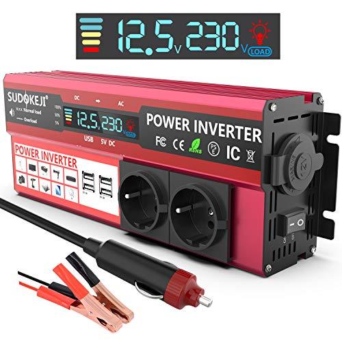SUDOKEJI Convertisseur Onduleur 1000W 12V 220V à 240V Chargeur Allume-Cigare Transformateur de Courant avec écran LDE et 2 Prise Européenne et 4 Ports USB
