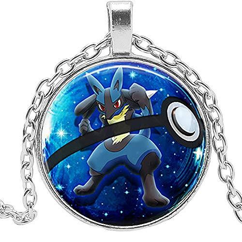Colgante de moda para niños, diseño de Pokemon Pikachu azul serpiente ardilla mono cristal cabujón collar de regalo suéter cadena