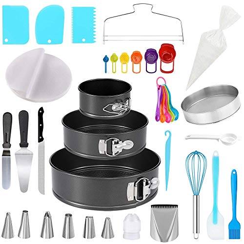Cake Pans and Cake Decorating Tools 115 pcs Cake Decorating Kit with 3 Cake Baking Pans Cake Decorating Supplies with 6 Big Frosting Tips and Bags 30 Icing Piping Bags and Tips Set Cake Baking Tools