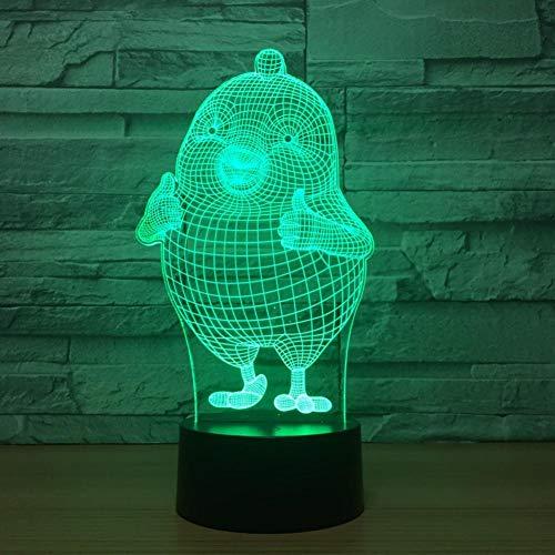 Yujzpl 3D-illusielamp Led-nachtlampje, USB-aangedreven 7 kleuren Knipperende aanraakschakelaar Slaapkamer Decoratie Verlichting voor kinderen Kerstcadeau-Schattige meid