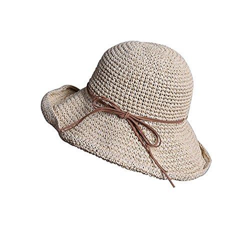 Kentop Damen Faltbar Strohhut Sonnenhut Strandhut Sommerhut UV-Schutz (Beige)