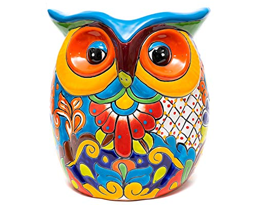 Enchanted Talavera Mexican Pottery Extra Large Owl Flower Pot Hand Painted Ceramic Plant Pot Planter Indoor Outdoor Porch Flower Vase Garden Statue Sculpture Outdoor Decor Animal Butterfly Frog