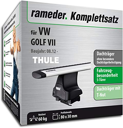 Rameder Set, Dachträger WingBar EVO kompatibel für VW Golf VII (114942-10585-1)