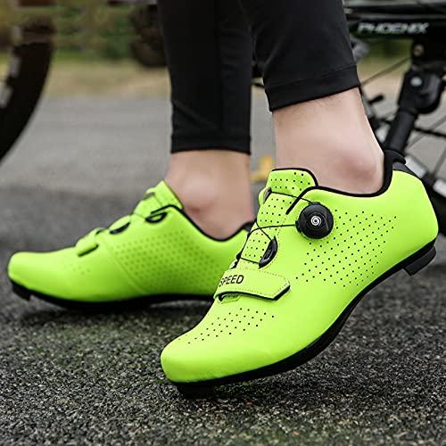 LZQpearl Zapatillas De Ciclismo, Zapatillas De Bicicleta De Montaña Y Carretera con Suela De Goma, Zapatillas De Bicicleta Sin Bloqueo con Sistema De Cordones De Rotación Rápida (Yellow,40)