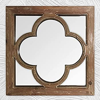 Antique Wooden Mirror for Wall Farmhouse Wall Mirror Decorative Antique Window Pane Farmhouse Decor for Living Room/ Bedroom Entryway Decor Fireplace Decor Geometric Decor