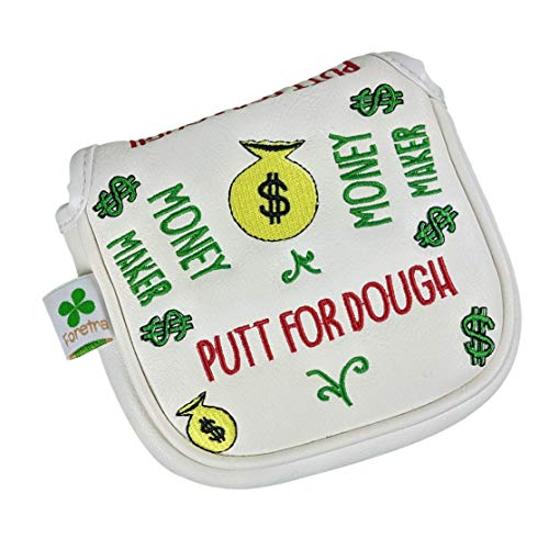 Foretra – Putt for Dough - Money Maker White Golf Putter Headcover Quality PU Leather Magnetic Closure for Square Mallet Style Putters Scotty Cameron Odyssey Taylormade Ping