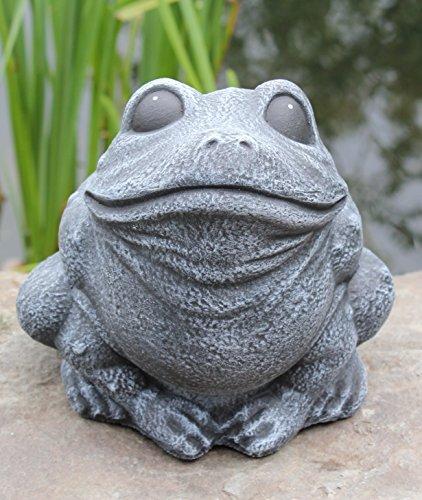 Gartenfigur Frosch sitzend Schiefergrau, Deko-Figur für Haus und Garten, frostsichere Teichdeko
