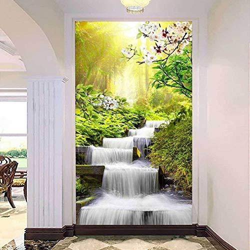 Papel tapiz fotográfico 3D personalizado bosque sol cascada agua del grifo sala de estar entrada mural de pared papel tapiz 3D 400x280cm