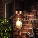 Solar Laterne Außen Hängend Metall Dekorative Garten Solarleuchten mit Edison Glühbirne, Wasserdichtes solarbetriebenes Licht für die Veranda Weg Terrasse Hof (Kupfer)