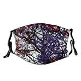 NUFR Blossom Jacaranda Free Cherry Leaf Plant Pictures Tree Images Wallpapers Petal Flower Dust Washable Reusable Filter and Reusable Mouth Warm Windproof Cotton Face