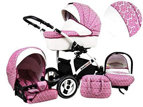 Kinderwagen 3 in1 2in1 Isofix Komplettset mit Autositz alles in einem Biancino by ChillyKids Dark Pink 3in1 mit Babyschale