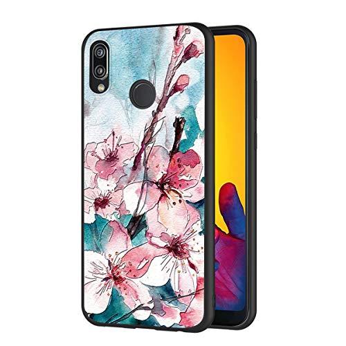 ZhuoFan Funda Huawei P20 Lite Cárcasa Silicona Ultrafina Negra con Dibujos Diseño 3D en Relieve Suave TPU Gel Antigolpes de Protector Piel Case Cover Fundas para Movil Huawei P20Lite, Flores 5