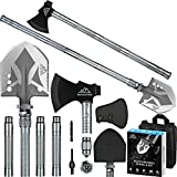 Camping Survival Shovel Axe, BANORES Folding Camping Shovel with High Carbon Steel Camping Gear Survival Multitool Kits for Camping, Hiking, Backpacking, Emergency