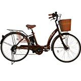 26インチ 折りたたみ 電動アシスト自転車 パステル F シマノ6段変速ギア 5Ahリチウムイオンバッテリー 折りたたみ自転車 型式認定車両(TSマーク) (BROWN)
