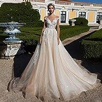 ホームアクセサリースタイリッシュなシンプルなドレスセクシーなVネックキャップスリーブレースチュールスタイリッシュなシンプルなドレス豪華な花嫁のドレスプリンセスパレスドリームガウンスタイリッシュなシンプルなドレス