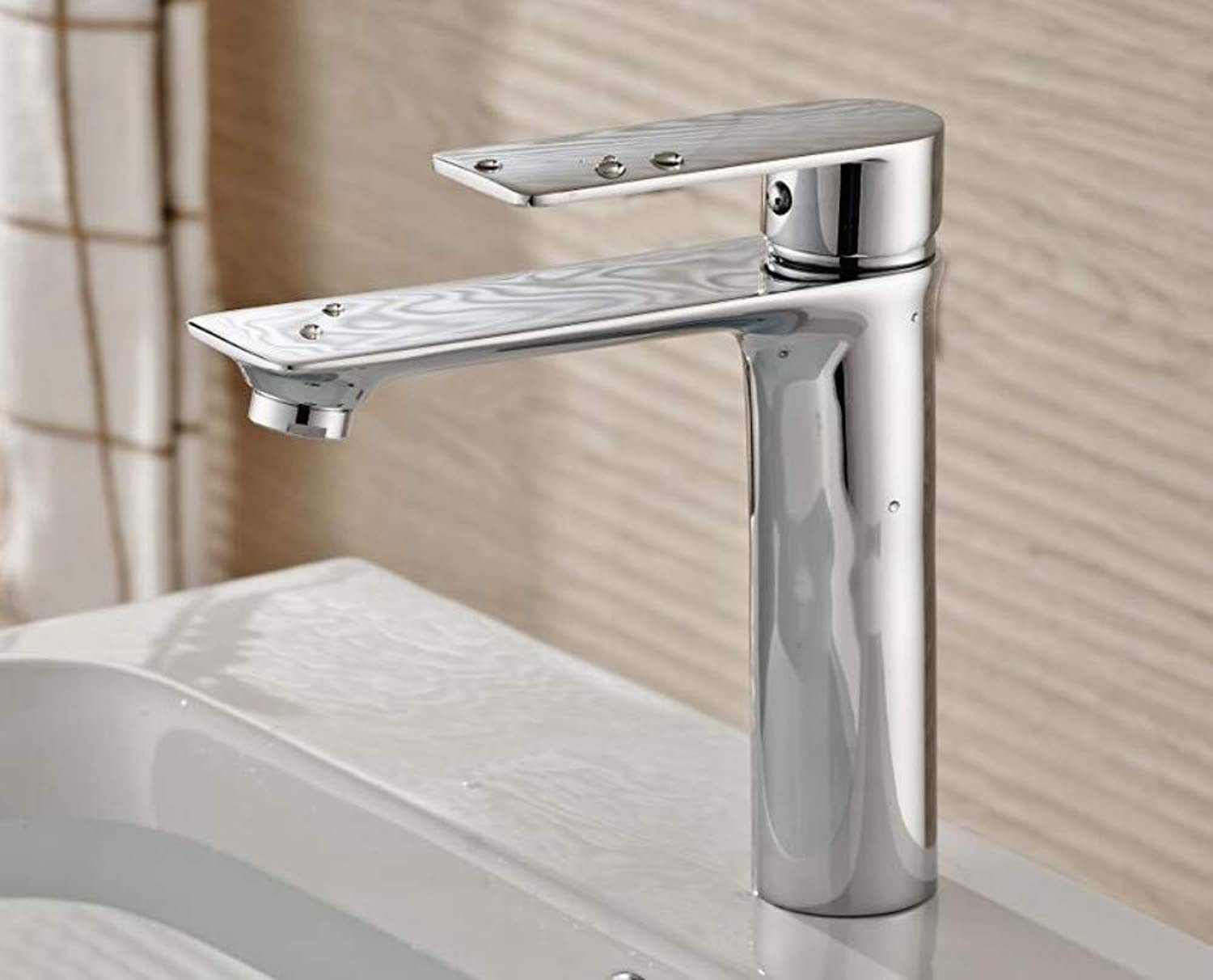 High-End Flat Single Hole Bathroom Basin Faucet Hot and Cold Mixing Valve Faucet Plating Silver
