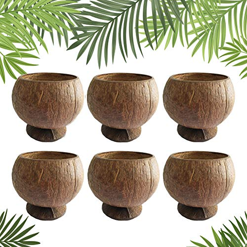 Natural Coconut Shell Cups, 12oz Hawaiian Theme Luau Party Cups Supplies,6 Pack…