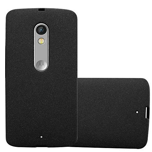 Cadorabo Hülle für Motorola Moto X Play - Hülle in Frost SCHWARZ – Handyhülle aus TPU Silikon im matten Frosted Design - Silikonhülle Schutzhülle Ultra Slim Soft Back Cover Case Bumper