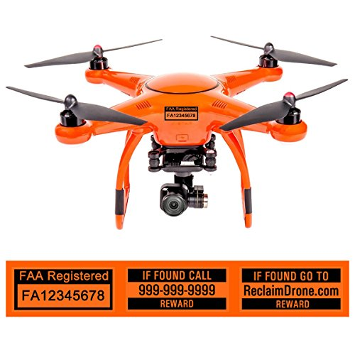 X-Star Drone Labels, FAA and Phone Number - Laminated, 2 Sizes, 4 Color Options