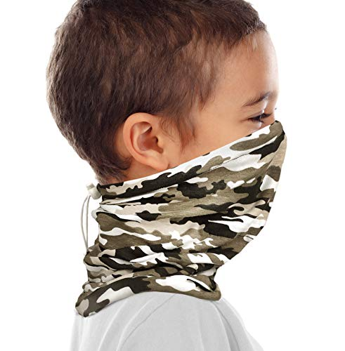 Kid's Organic Cotton Adjustable Neck Gaiter. Filter Pocket. Fits 5-14 Yrs (Camo)