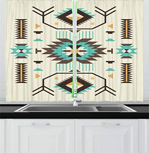 "Ambesonne Southwestern Kitchen Curtains, Ethnic Illustration of a Zigzags Design Triangular Iconic Artwork Motifs, Window Drapes 2 Panel Set for Kitchen Cafe Decor, 55"" X 39"", Pale Yellow"
