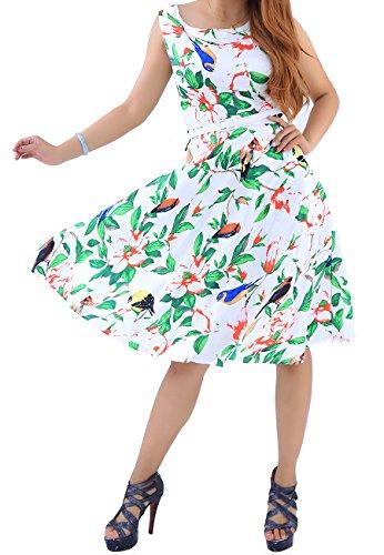 OMZIN Damen Kleid Große Größe Cocktailkleid Knielanges Sommerkleider Retro Blumendruck Vintage Kleid Grün XXXL
