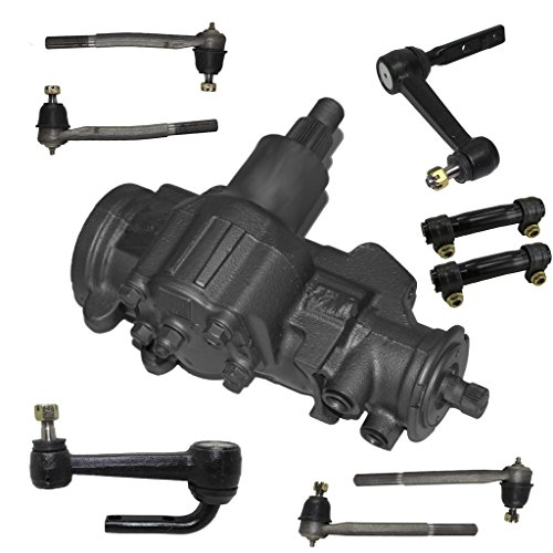 Detroit Axle - 9-Piece Suspension/Gearbox Kit - 1 Power Steering Gearbox (reman), 2 Idler Arms (new), All 4 inner and outer tie rod end links (new), 2 Adjusting Sleeves (new)