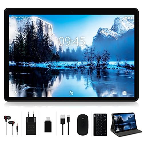 Tablet 10 Pollici 4GB RAM + 64GB ROM con Dual LTE SIM e WiFi, Android 10 Originale YESTEL X7 Tablets con Schermo HD | 5MP + 8MP | Bluetooth | OTG | Espandibili Fino 128GB | con Tastiera e Mouse- Nero