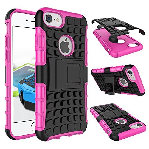 GHC Fundas & Covers para iPhone 7, Silicon + plástico para Estuche de plástico Soporte de Goma Suave y Caja de plástico Duro para iPhone 7 (Color : Rosado)