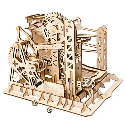 Robotime Marmor-Achterbahn mit Uhrwerk, mechanisches 3D-Puzzle-Spiel, Holzbastel-Set, Erwachsenen-Bastelset, Puzzle-Geschenk (Untersetzer)