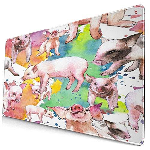 Nettes Mauspad ,Rosa Schwein Wildtier in einem Aquarell-Stil isoli,Rechteckiges rutschfestes Gummi-Mauspad für den Desktop, Gamer-Schreibtischmatte, 15,8