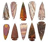 KVK Crystals Ten 3' Indian Spear Point Arrowheads Agate Chert Flint New Project Points