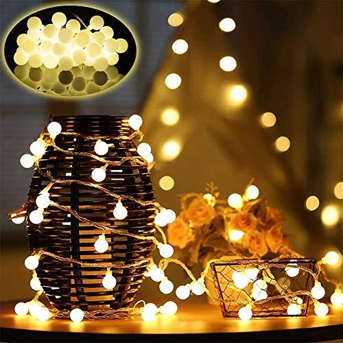 Guirnaldas Cadena de Luces Led Main Power,10 Metros con 100 Bombillas, Luces Decorativas Blanco Caliente, Ideal para Fiesta, Decoraciones de Dormitorio, Pared, Navidad, Boda (10M100-BALL)